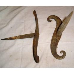 2 Ferrures en forme de S en fer