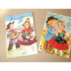 2 Cartes postales en tissu, folklore d'Auvergne