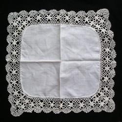Mouchoir de mariée, en linon et dentelle, 21cm