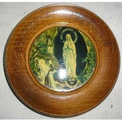 Cadre religieux Vierge de Lourdes ,  bois peint