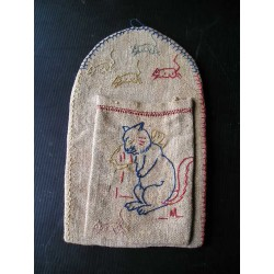 Vide poche ancien, chanvre motif chat