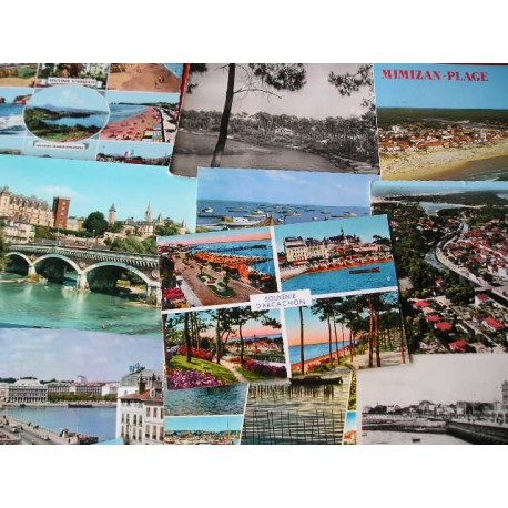 55 cartes postales anciennes Aquitaine, Gironde années 60