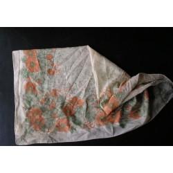 Foulard ancien, motifs fleurs