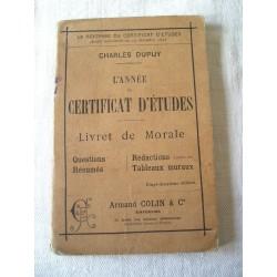 Livret de morale 1900, certificat d'études