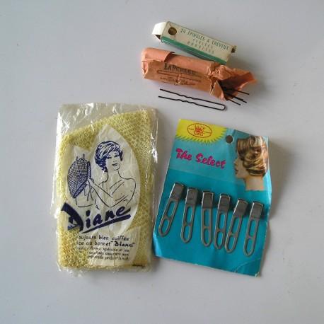 Lot de petits objets de coiffure années 50-60, vintage