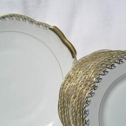 Service à dessert en porcelaine, or