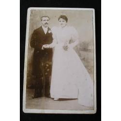 Photo ancienne couple de mariés XIXème