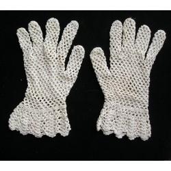 Gants anciens écrus au crochet, fait main