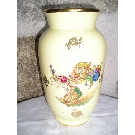 Vase ancien  Gien PRIMEFLEUR ,jaune,25cm