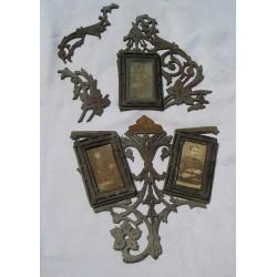 Cadres photos anciens XIXème, sur dentelle de bois  à restaurer