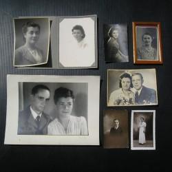 Lot de 8 photos anciennes, portraits, années 40-50