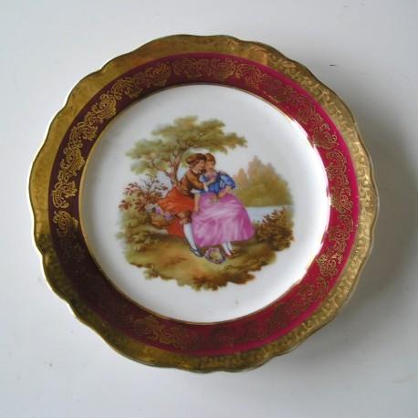 Assiette porcelaine de limoges personnages romantiques - Porcelaine de limoges ...