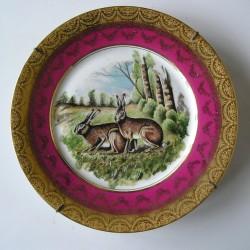 Assiette décorative porcelaine de Limoges, lièvres