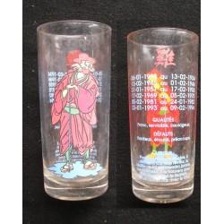 Verre de collection astrologie chinoise COQ