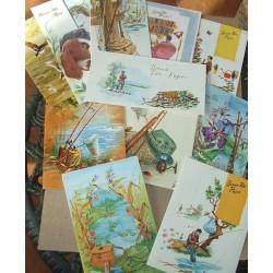 Lot de 14 cartes de Fête des Pères anciennes années 60