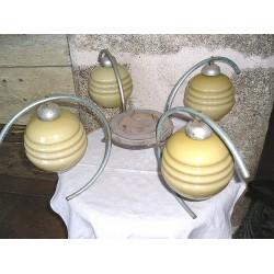 Lustre vintage, 4 globes,  diagonale 68 cm