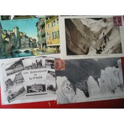 Lot de 32 cartes postales anciennes Alpes, Lyon, Annecy, Chamonix