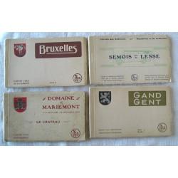 4 dépliants de cartes postales anciennes BELGIQUE