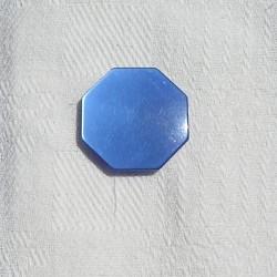 3 boutons bleus, hexagonaux, vintage