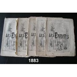 """5 Revues anciennes """"les Enfants"""" 1883"""
