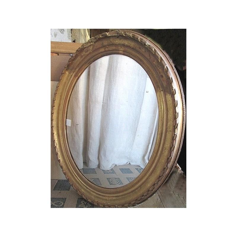 Miroir ancien en bois et platre dor ovale bords abim s for Miroir bois ovale