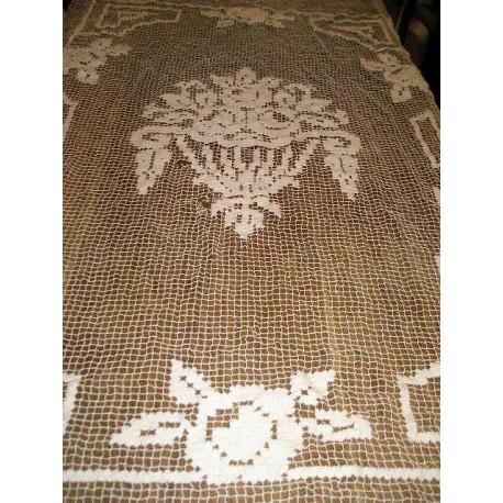 Rideau ancien filet, motifs fleurs