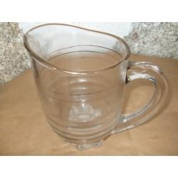 Pot à eau ancien en verre épais, années 50