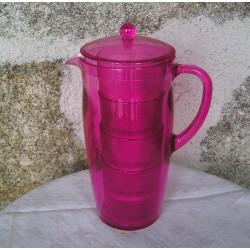 Pot à eau et verres, plastique rose