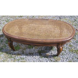 Table basse cannée ovale, vintage