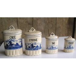 Série de pots à épice motif Moulin bleu, très anciens