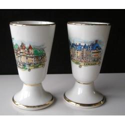 Mazagrans  en porcelaine Chateau de Langeais  et Ussé