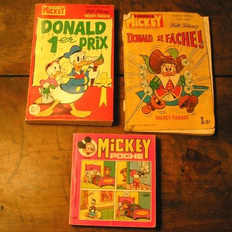 3 albums BD anciens le journal de MICKEY   1978