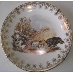 Assiette décorative, Limoges, chasse au sanglier