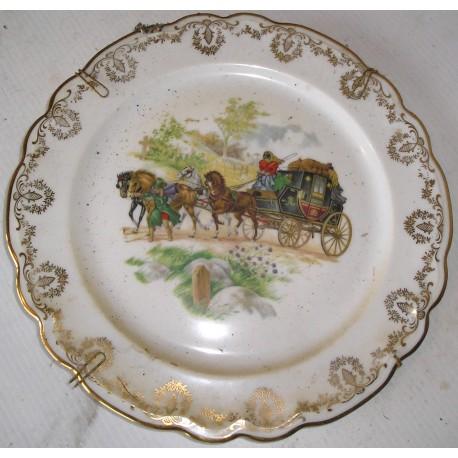 Assiette décorative Limoges diligence