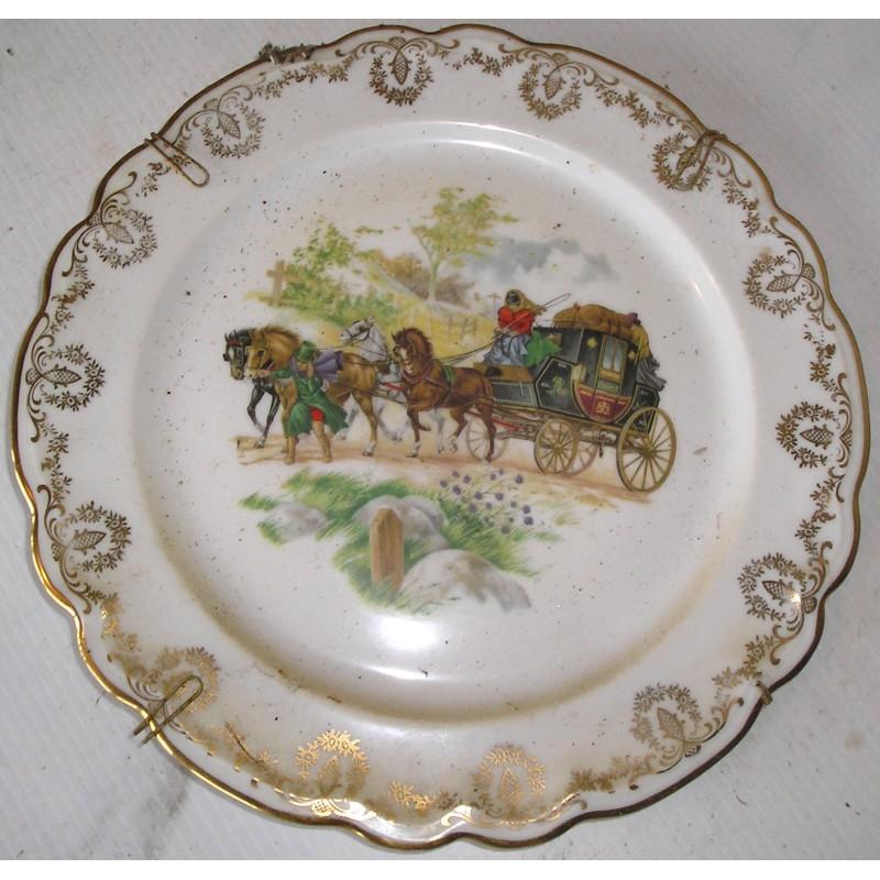 Assiette décorative Limoges diligence - Broc23