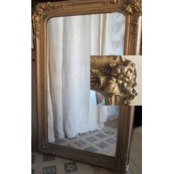 Miroir ancien bois et platre doré 115cm
