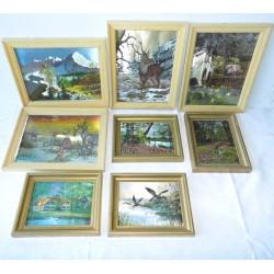 Lot de 8 tableaux avec cadres dorés