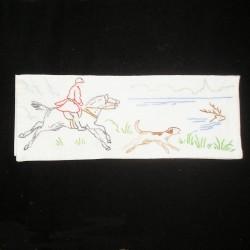 Porte serviette ancien brodé chasse