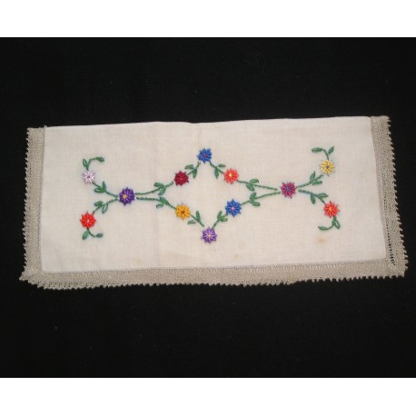 Porte-serviette ancien brodé