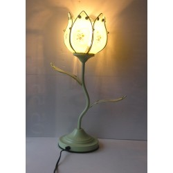 Lampe fleur en métal vert