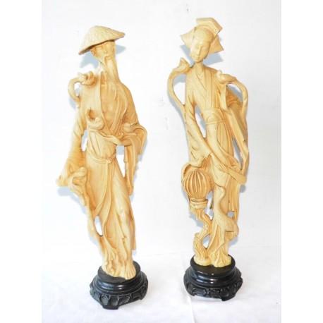 2 statuettes couple chinois 50cm en résine
