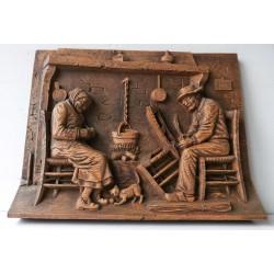 Tableau bois A Morand, scène paysanne 42x34cm