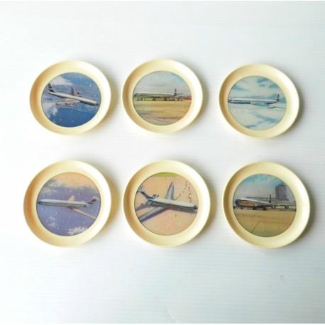 6 dessous de verres aviation, années 60, vintage en plastique