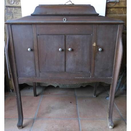 Gramophone Pathé avec meuble années 30, fonctionne