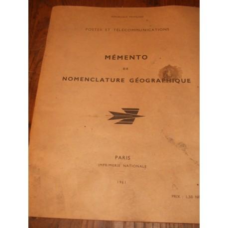 Document ancien Mémento PTT 1961