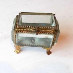 Coffret à bijoux ancien verre épais art déco