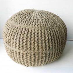 Pouf vintage en laine tressée