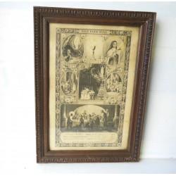 Joli cadre en bois avec photo ancienne religieuse - 1934