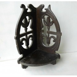 Etagère d'angle bois ancienne pliable, bois sculpté
