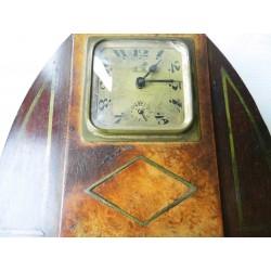 Réveil Pendule bois marqueterie ancienne -BAYARD (Lion passant)
